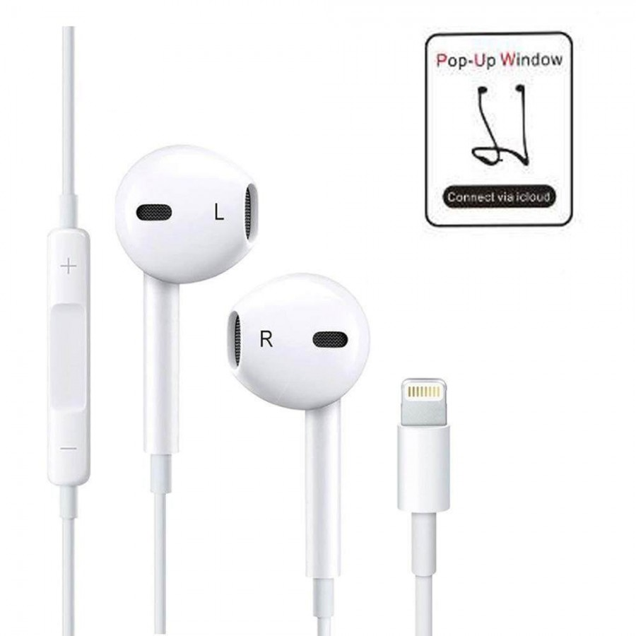 Earphone with Remote and Mic For Apple iPhone X, 8, 7 (white)