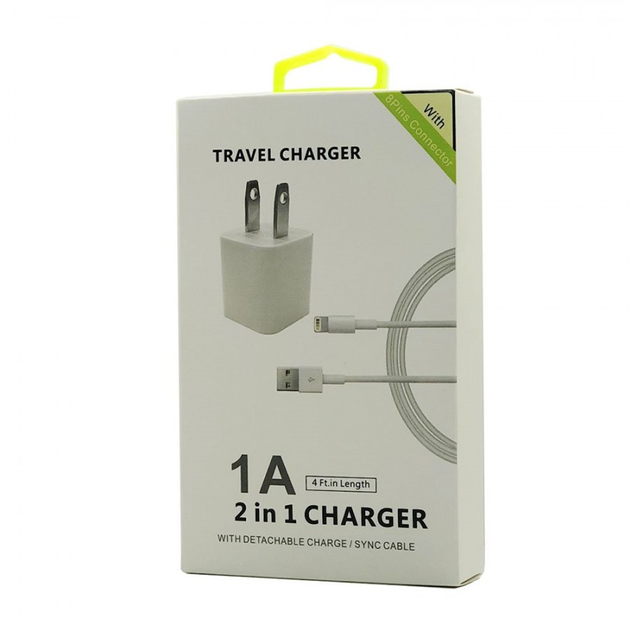 2 in 1 Home Charger w/ Extra length Cable for iPhone 8, 7