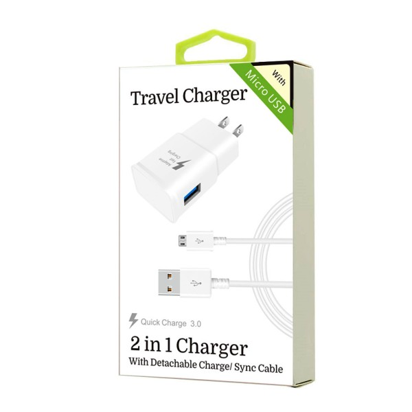 2 in 1 Charger for Samsung Micro USB v8 v9 (QC)