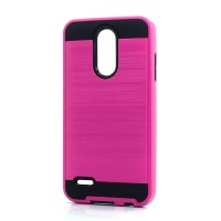Brush Hybrid Case For LG Tribute Dynasty, Aristo 2, X210 (hotpink)