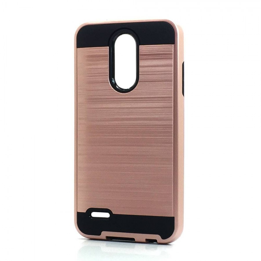 Brush Hybrid Case For LG Tribute Dynasty, Aristo 2, X210 (rose gold)