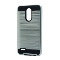 Brush Hybrid Case For LG Tribute Dynasty, Aristo 2, X210 (silver)