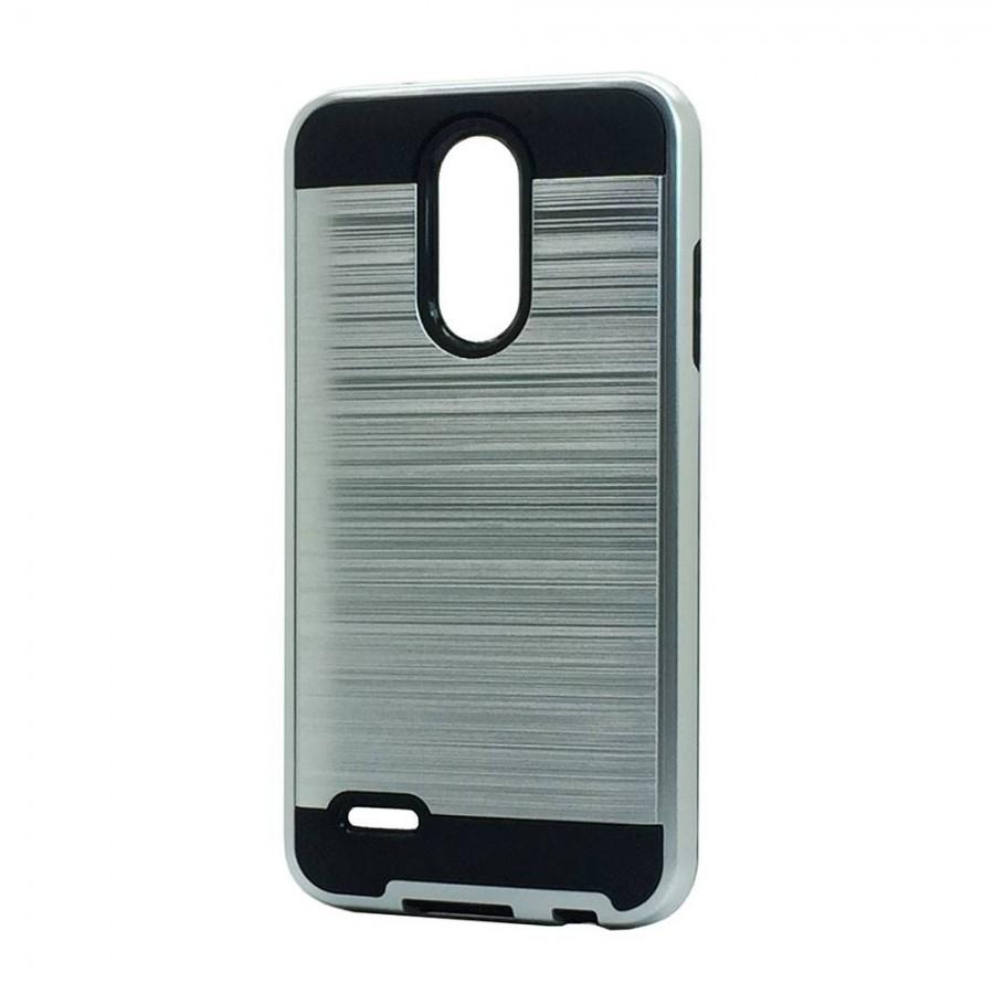 Brush Hybrid Case For LG Tribute Dynasty, Aristo 2, X210 (silver)